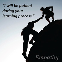 I will be patient during your learning process, 1 person helping another up a tough climb
