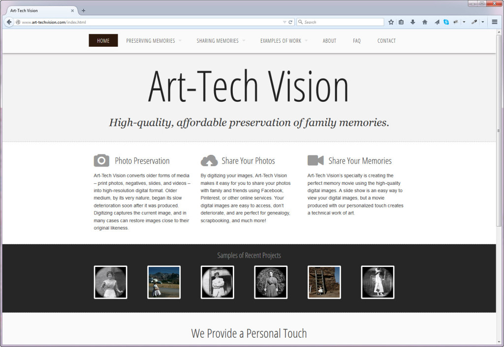 Art Tech Vision Home Page sample