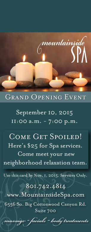 sample of a door hanger for a spa grand opening event