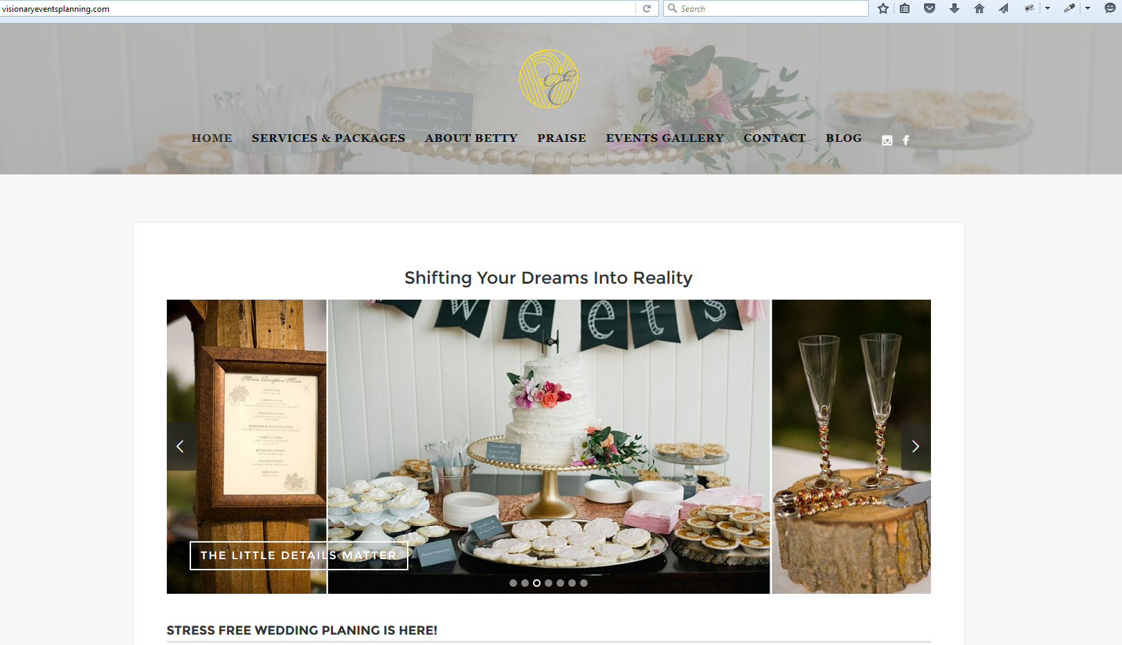 Customized WordPress site for Event Planner