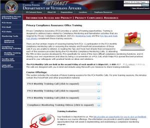 PCA website screen shot