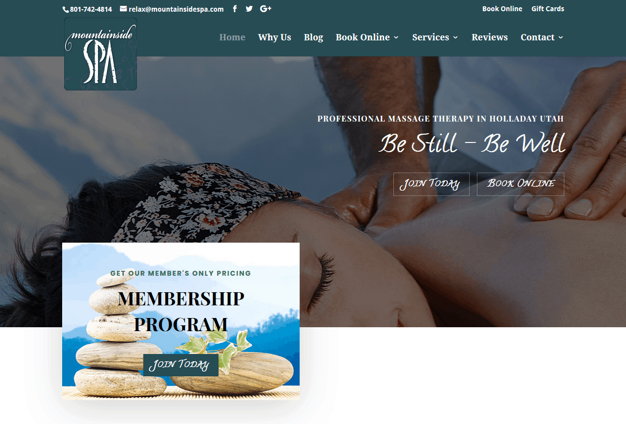 Mountainside Spa new design in WordPress